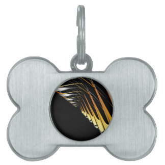 Fractal gold and silver background pet name tag