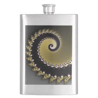 Fractal. Gold, silver, black. Hip Flask