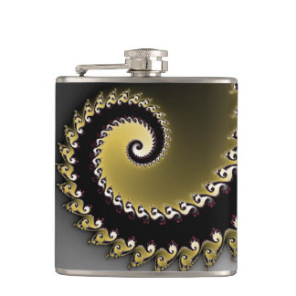 Fractal. Gold, silver, black. Hip Flask