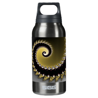 Fractal. Gold, silver, black. Insulated Water Bottle