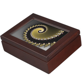 Fractal. Gold, silver, black. Keepsake Box