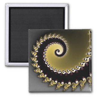 Fractal. Gold, silver, black. Magnet