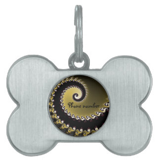 Fractal. Gold, silver, black. Pet Name Tag