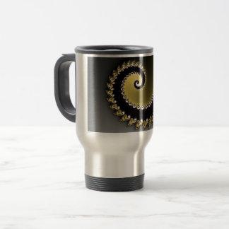 Fractal. Gold, silver, black. Travel Mug