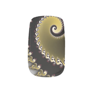 Fractal. Golden, silver, black. Minx Nail Art