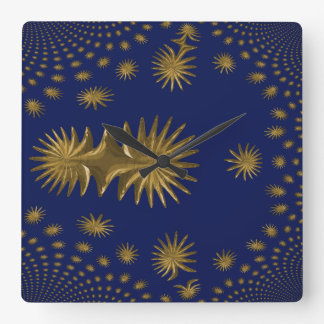 Fractal golden stars square wall clock