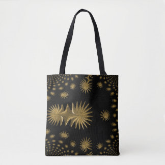 Fractal golden stars tote bag