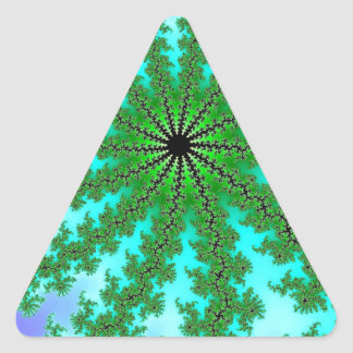 Fractal Green Color Triangle Sticker