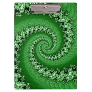 Fractal Green Double Spiral Clipboard