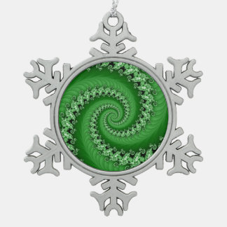 Fractal Green Double Spiral Snowflake Pewter Snowflake Ornament