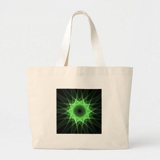 Fractal green star canvas bags