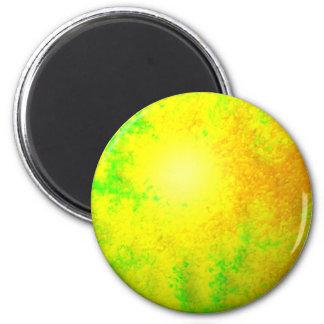 Fractal Green Yellow Globe 2 Inch Round Magnet