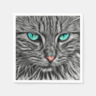 Fractal grey cat illustration paper napkins