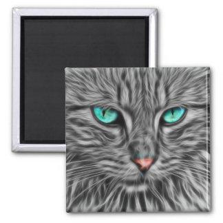 Fractal grey cat illustration square magnet