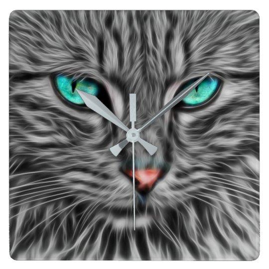 Fractal grey cat illustration square wall clock