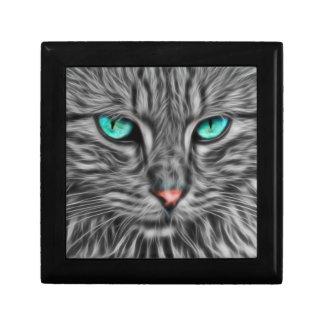 Fractal grey cat illustration trinket boxes
