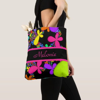 Fractal Groovy Summer Add Name Tote Bag