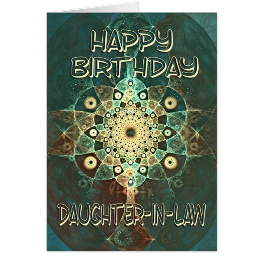 Fractal grunge birthday card for a daughter-in-law