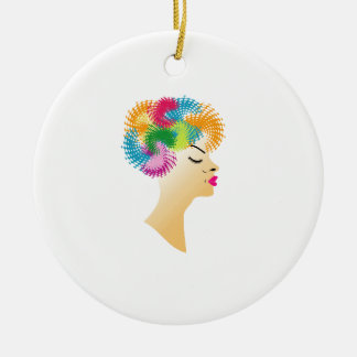 Fractal hair ceramic ornament