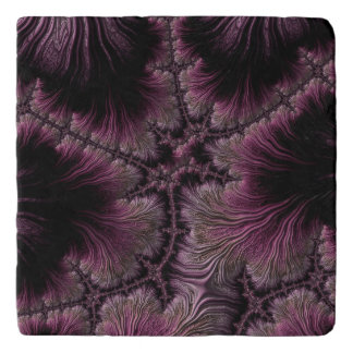 Fractal Image in Hues of Aubergine Trivet
