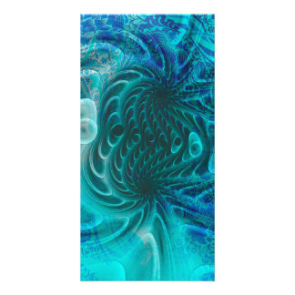 Fractal in soft blue with floral elements personalized photo card