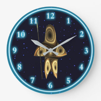 Fractal Inuit Hunter Large Clock