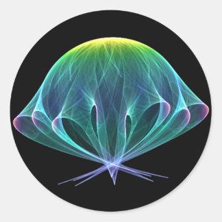 Fractal Jellyfish Classic Round Sticker