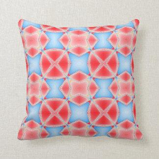 Fractal Kaleidoscope in Red & Blue #1 Throw Pillow