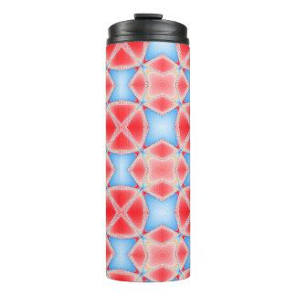 Fractal Kaleidoscope in Red & Blue Thermal Tumbler