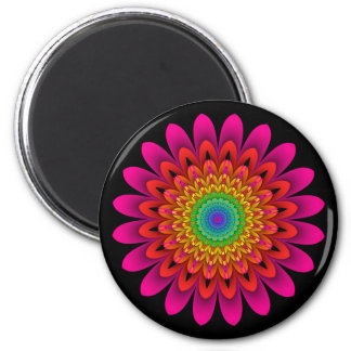 Fractal Kaleidoscope Rainbow Dahlia Magnet