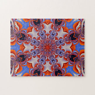 Fractal Kaleidoscope Red and Blue Puzzle