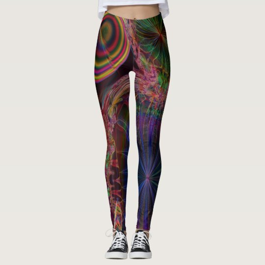 Fractal Leggings, Poinsettia Leggings