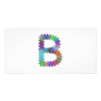 Fractal letter B monogram Photo Card