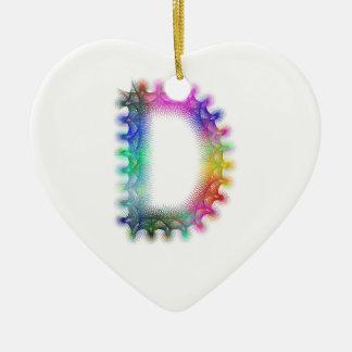 Fractal letter D monogram Ceramic Heart Ornament
