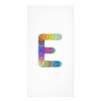 Fractal letter E monogram Customized Photo Card