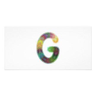 Fractal letter G monogram Customized Photo Card
