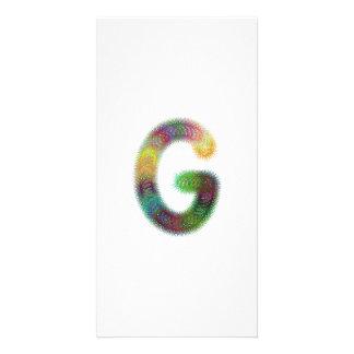 Fractal letter G monogram Photo Cards