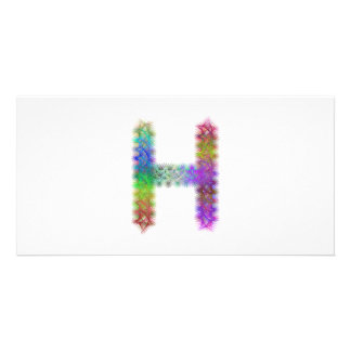 Fractal letter H monogram Customized Photo Card
