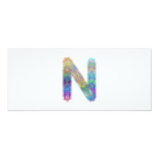 "Fractal letter N monogram 4"" X 9.25"" Invitation Card"
