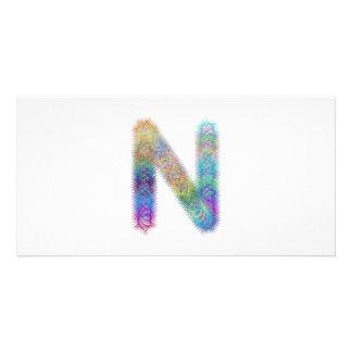 Fractal letter N monogram Custom Photo Card
