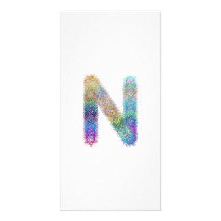 Fractal letter N monogram Photo Card