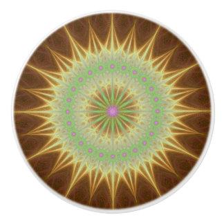 Fractal mandala sun ceramic knob
