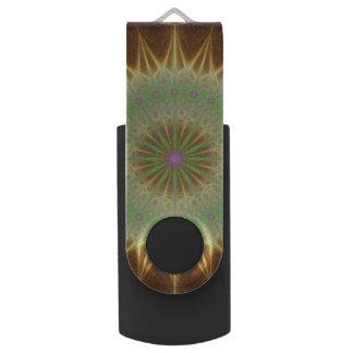 Fractal mandala sun swivel USB 3.0 flash drive