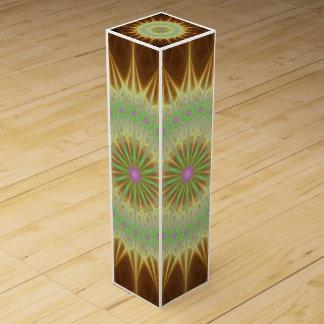 Fractal mandala sun wine gift box