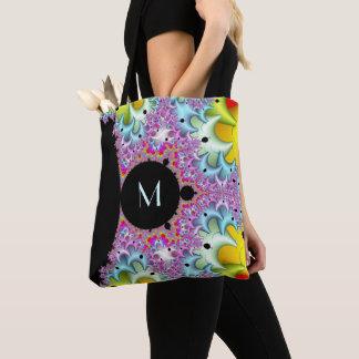 Fractal Mandelbrot Monogram Tote Bag