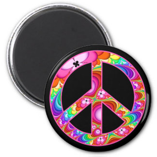 Fractal Peace Sign Groovy Trip Magnet