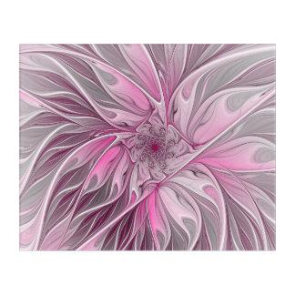 Fractal Pink Flower Dream, floral Fantasy Pattern Acrylic Print