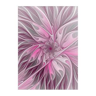 Fractal Pink Flower Dream, floral Fantasy Pattern Acrylic Wall Art