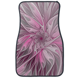Fractal Pink Flower Dream, Floral Fantasy Pattern Car Mat