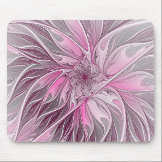 Fractal Pink Flower Dream, Floral Fantasy Pattern Mouse Pad